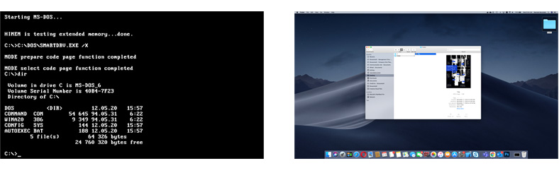 Image of MS-DOS and Mac OS X side by side