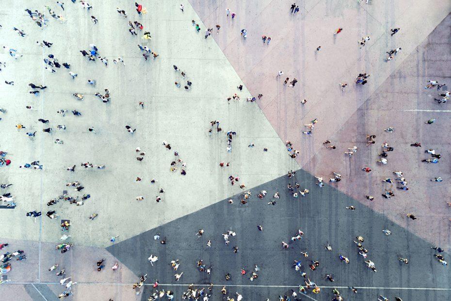 crowd in a public square